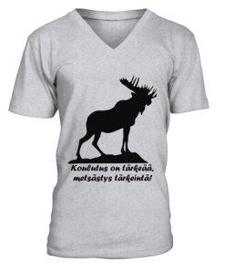 Koulutus on tärkeää, metsästys on tärkeintä! – V-kaula-aukollinen T-paita