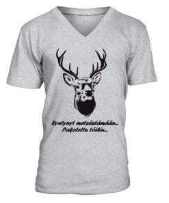 Syntynyt metsästämään, pakotettu töihin! – V-kaula-aukollinen T-paita